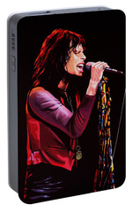 Steven Tyler In Aerosmith Portable Battery Charger by Paul Meijering