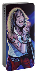 Steven Tyler Of Aerosmith Portable Battery Charger by Paul Meijering