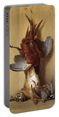 Still Life With A Hare, A Pheasant And A Red Partridge Portable Battery Charger by Jean-Baptiste Oudry
