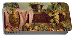Still Life With A Jug, 1734 Oil On Canvas Portable Battery Charger by Alexandre-Francois Desportes
