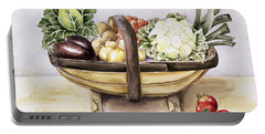 Still Life With A Trug Of Vegetables Portable Battery Charger by Alison Cooper