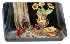 Still Life With Sunflowers Lemon Apples And Geranium  Portable Battery Charger by Irina Sztukowski