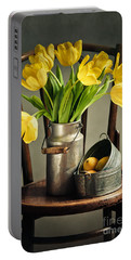 Still Life With Yellow Tulips Portable Battery Charger by Nailia Schwarz