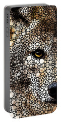 Stone Rock'd Wolf Art By Sharon Cummings Portable Battery Charger by Sharon Cummings