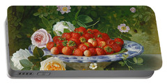 Strawberries In A Blue And White Buckelteller With Roses And Sweet Briar On A Ledge Portable Battery Charger by William Hammer
