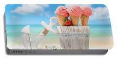 Strawberry Fruit Ice Cream Portable Battery Charger by Amanda Elwell