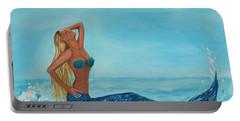 Sunbathing Mermaid Portable Battery Charger by Leslie Allen