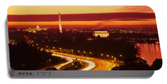 Sunset, Aerial, Washington Dc, District Portable Battery Charger by Panoramic Images