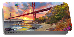 Sunset At Golden Gate Portable Battery Charger by Dominic Davison