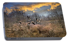 Sunset Geese Portable Battery Charger by Christina Rollo