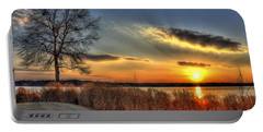 Sunset Sawgrass On Lake Oconee Portable Battery Charger by Reid Callaway