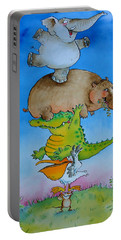 Super Mouse Pen & Ink And Wc On Paper Portable Battery Charger by Maylee Christie