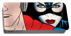 Superman And Catwoman  Portable Battery Charger by Mark Ashkenazi