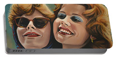 Susan Sarandon And Geena Davies Alias Thelma And Louise Portable Battery Charger by Paul Meijering