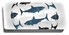 Swimming Blue Sharks Around The Globe Portable Battery Charger by Amy Kirkpatrick