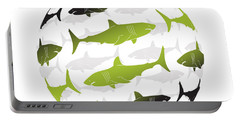 Swimming Green Sharks Around The Globe Portable Battery Charger by Amy Kirkpatrick