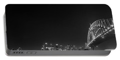 Sydney By Night Black And White Portable Battery Charger by Kaleidoscopik Photography