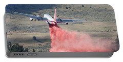 Portable Battery Charger featuring the photograph Tanker 45 Dropping On Whoopup Fire by Bill Gabbert