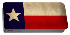 Texas State Flag Lone Star State Art On Worn Canvas Portable Battery Charger by Design Turnpike