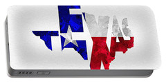 Texas Typographic Map Flag Portable Battery Charger by Ayse Deniz