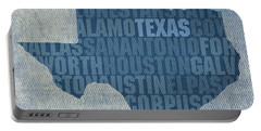 Texas Word Art State Map On Canvas Portable Battery Charger by Design Turnpike