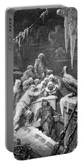 The Albatross Being Fed By The Sailors On The The Ship Marooned In The Frozen Seas Of Antartica Portable Battery Charger by Gustave Dore