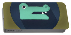 The Crocodile Cute Portrait Portable Battery Charger by Florian Rodarte