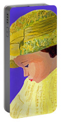 Portable Battery Charger featuring the painting The Girl With The Straw Hat by Rodney Campbell