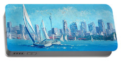 The Regatta Sydney Habour By Jan Matson Portable Battery Charger by Jan Matson