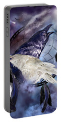 The White Raven Portable Battery Charger by Carol Cavalaris