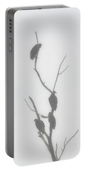 Their Waiting Four Black Vultures In Dead Tree Portable Battery Charger by Chris Flees