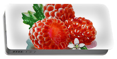 Three Happy Raspberries Portable Battery Charger by Irina Sztukowski