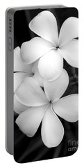 Three Plumeria Flowers In Black And White Portable Battery Charger by Sabrina L Ryan