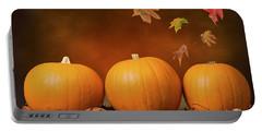 Three Pumpkins Portable Battery Charger by Amanda Elwell