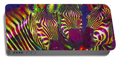 Three Rainbow Zebras Portable Battery Charger by Jane Schnetlage