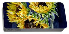 Three Sunny Flowers Portable Battery Charger by Irina Sztukowski