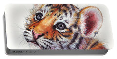 Tiger Cub Watercolor Painting Portable Battery Charger by Olga Shvartsur