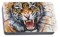 Tiger Watercolor Portrait Portable Battery Charger by Olga Shvartsur