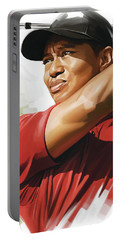Tiger Woods Artwork Portable Battery Charger by Sheraz A
