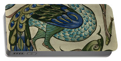 Tile Design Of Heron And Fish Portable Battery Charger by Walter Crane