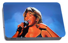 Tina Turner Queen Of Rock Portable Battery Charger by Paul Meijering
