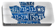 Toronto Maple Leafs Hockey Team Retro Logo Vintage Recycled Ontario Canada License Plate Art Portable Battery Charger by Design Turnpike