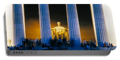 Tourists At Lincoln Memorial Portable Battery Charger by Panoramic Images