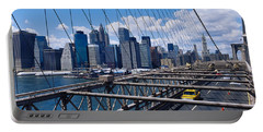 Traffic On A Bridge, Brooklyn Bridge Portable Battery Charger by Panoramic Images