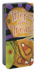 Trick Or Treat Portable Battery Charger by Anne Tavoletti