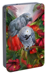 Tropic Spirits - African Greys Portable Battery Charger by Carol Cavalaris