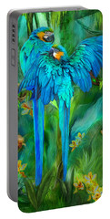 Tropic Spirits - Gold And Blue Macaws Portable Battery Charger by Carol Cavalaris