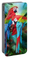 Tropic Spirits - Macaws Portable Battery Charger by Carol Cavalaris