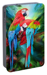 Tropic Spirits - Macaws Portable Battery Charger by Carol Cavalaris
