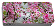 Tufted Titmouse In A Pear Tree Square Portable Battery Charger by Bill Wakeley